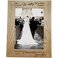 Personalised Photo Frame 5x7 - Personalised Gift - Engraved Wooden Photo Frame for Wedding, Father Of The Bride - L1084