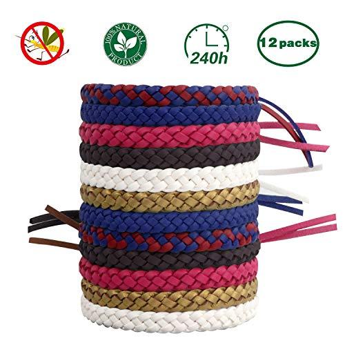 T98 Mückenschutz Armband, Mückenarmbänder Mücken Armband 100% natürlicher Pflanzenextrakt 12 Stück Moskito Armband Geeignet für Erwachsene und Kinder für Camping Klettern Schlafzimmer Grillen - Citronella Öl, Mückenschutz