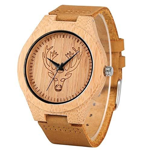 LOOIUEX Reloj de Pulsera Reloj para Hombre Reloj de Cuarzo con Grabado de Tigre Reloj de Cuarzo de Madera de Ciervo Reloj de Banda de Cuero marrón Claro Reloj de Marca Superior Reloj Montre