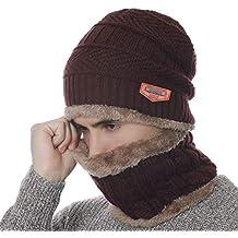 Petrunup Inverno Caldo A Cappello E Il Collo più Spessa di Beanie Sciarpa  Foderata 2 Pezzo ec74c0528728