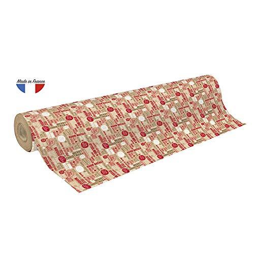 """Clairefontaine 223811C Rolle Geschenkpapier mit dem Wort """"Weihnachten"""" in mehrere Sprachen, 50 x 0,70m, 70g/qm Recycling Kraftpapier, ideal für große Geschenke, 1 Stück, Rot/Braun"""