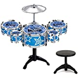 IndusBay Kids Musical Jazz Drums Set For Kids Percussion Musical Instrument Toy With 5 Drums Set And Chair For Boys And Girls