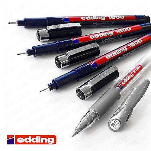 Edding 1800profipen Faserstift für Fineliner und Silber, Gel Roller Zeichnen Set - 4s Gel