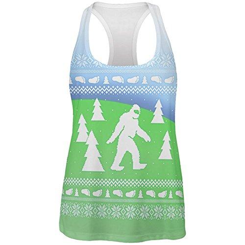 Yeti-tank (Old Glory Hässliche Weihnachts Pullover Bigfoot Sasquatch Yeti auf der Ganzen Womens erarbeiten Tank-Top Multi MD)