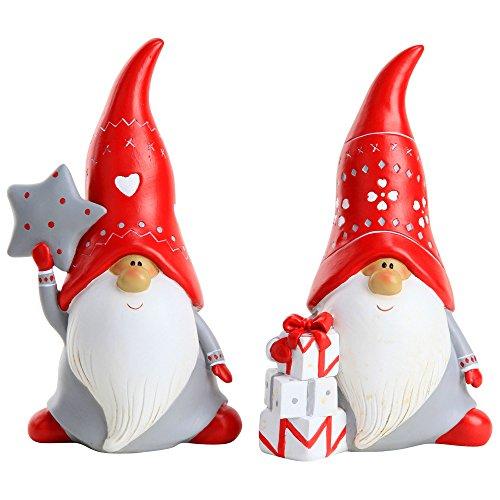 set of 2 20cm grey red polyresin christmas - Christmas Gnome