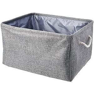 AmazonBasics Fabric Storage Basket with Handles, Large with Drawstring (2-Pack)