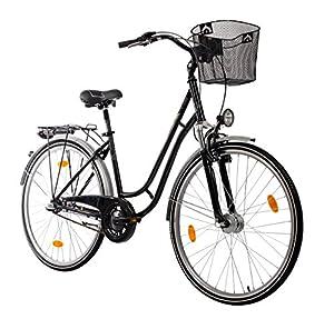 Teutoburg Bielefeld Citybike Fahrrad 28 Zoll (Tourensport Rahmen, 3 Gang Shimano Rücktrittbremsnabe, V Bremse, Federgabel) schwarz
