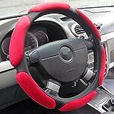 Souvent Sport Volant Protection Housse de volant de quatre saisons universel lenkradabdeckung 3D Poignée antidérapante Daim peluche voiture Housse de volant env. 38cm rouge
