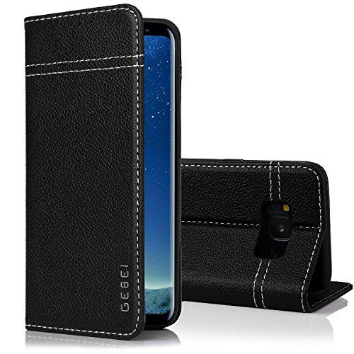 Samsung Galaxy S8 Plus Handyhülle, Gebei Kriegsschiff Serie Echt Ledertasche Klapp-Handy Shell Schutzhülle mit unsichtbare Magnetknopf für Samsung Galaxy S8 Plus (Schwarz)