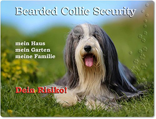 Merchandise for Fans Warnschild - Schild aus Aluminium - Motiv: Bearded Collie Security (01)