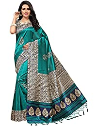 Ishin Poly Silk/Mysore Silk Green Printed Women's Saree/Sari With Tassels