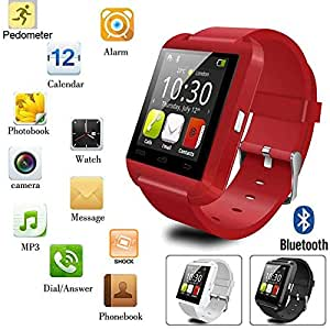 CASVO Nokia 220 COMPATIBLE Smart Android U8 Bracelet Watch and Activity Wristband, Wireless Bluetooth Connectivity Pedometer, RED,