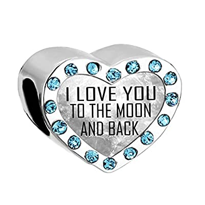 Uniqueen New I LOVE YOU TO THE MOON AND BACK Birthstone Heart Charms Bead Sale fit Pandora Bracelet Cheap