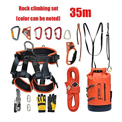 WYX 35M Kletterausrüstung Outdoor Handsteuerung Abseilgerät Sicherheit Seil Höhle Bergsteigen Schutzset - 15 Stück -