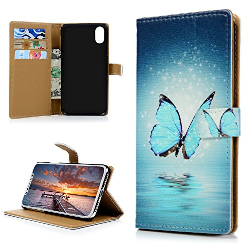 MAXFE.CO Lederhülle Case Schutz für iPhone X PU Leder + PC Innere Etui Schale Backcover Brieftasche Gemalt Flip Cover mit Kartenfächer Magnetverschluß Standfunktion Schmetterling Schmetterling