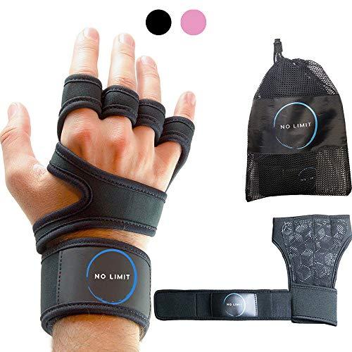 NoLimit® Fitness Handschuhe Trainingshandschuhe für Damen und Herren (Schwarz/Rosa) mit Handgelenkschutz, Handflächen-Schutz mit Silikon-Grip, Atmungsaktiv, Anti-Rutsch Fitness Handschuhe für Workout