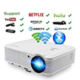 CAIWEI LCD LED Projecteur sans fil HDMI USB Full HD 1080P Support Android Wifi Airplay Miracast, 4500 Lumens Projecteur Home Cinema pour jeux vidéo Films, Connectez-vous iPhone Laptop Macbook XBOX DVD