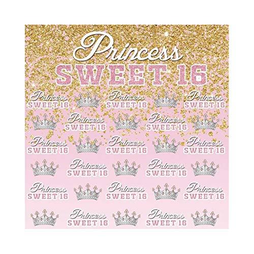 (Cassisy 3x3m Vinyl Geburtstag Fotohintergrund Prinzessin Sweet 16 Banner Krone Pailletten Rosa Hintergrund Fotoleinwand Hintergrund für Fotostudio Requisiten Party Kinder Photo Booth)