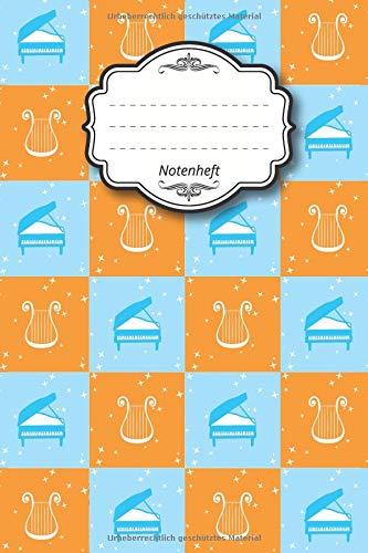 """Notenheft: Notenbuch I 96 Seiten I ca. a5 I 15,24 x 22,86 I 6"""" x 9"""" I 8 Notensysteme pro Seite I mattes Softcover I Harfe Klavier orange blau"""