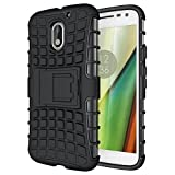 #6: eCosmos || Moto E3 Power Defender || Case for Dual Layer Tough Rugged Shockproof Hybrid Warrior Armor Case Back Cover With Kickstand / Black