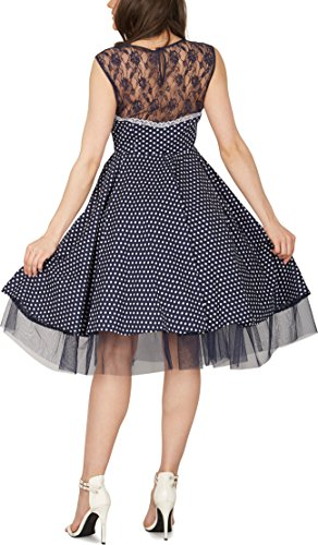BlackButterfly 'Vivien' Vintage Polka-Dots Kleid im 50er-Jahre-Stil (Nachtblau, EUR 42 - L) - 3