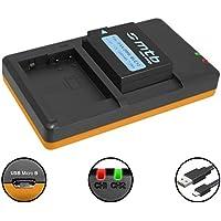 Batería + Cargador doble (USB) para Panasonic DMW-BLC12(E) / Lumix DMC-FZ200, FZ300, FZ1000, FZ2000.. / Sigma dp quattro / Leica Q (Typ 116) - ver lista (contiene cable micro USB)