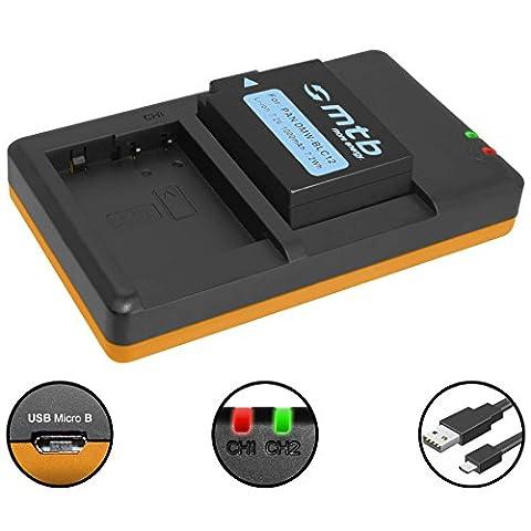 Akku + Dual-Ladegerät (USB) für Panasonic DMW-BLC12(E) / Lumix DMC-FZ200, FZ300, FZ1000, FZ2000.. / Sigma dp quattro / Leica Q (Typ 116) - s. Liste (inkl. Micro-USB-Kabel)