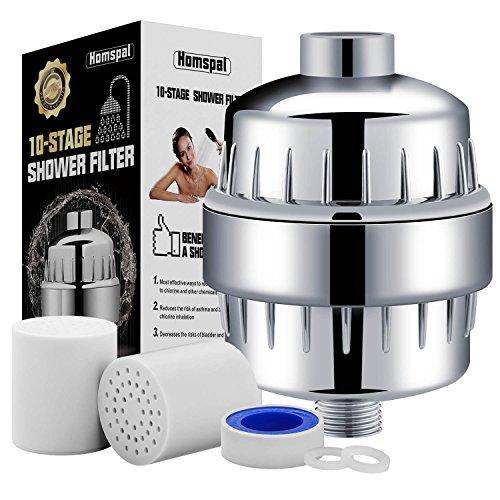 Filtro acqua per doccia Homspal 10 fasi con 2 cartucce – adatta per qualsiasi tipologia di doccia e doccetta –filtra il cloro i metalli pesanti e