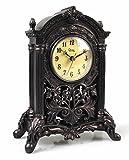MASCARELLO - Reloj de Mesa clásico Europeo Retro, Resina, para decoración de Interiores, Escultura Decorativa Similar a la Madera