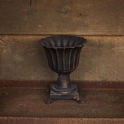 Bronze Roman Pot With Feet - 17cm Cast Iron Urn Flower Pot Container