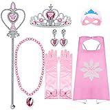 VAMEI Disfraz Princesa Niña Viste a Tiara Trenza Varita Capa Máscara Guantes Azules Conjunto Niñas Fiesta Cosplay Accesorios (Rosado)
