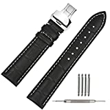 TStrap Genuine Leather Watch Strap 21mm Black Watch Band Bracelet w/Deployment Clasp Buckle Men