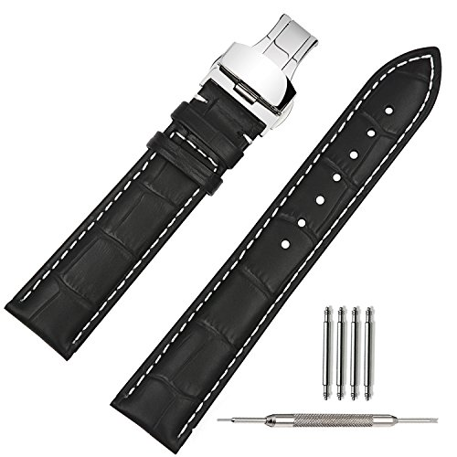 TStrap Uhrenarmband Leder 20mm Schwarz Uhrband Lederarmband mit Edelstahl Butterfly Faltschliesse