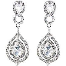 BiBeary mujer Cristal Art Deco novia Dangle perforado Pendientes claro tono plateado