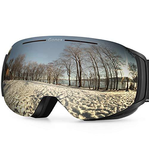 Gonex goggles snowboard senza montatura con lenti intercambiabili occhiali da sci magnetici a doppia lente occhiali da neve uv 400 anti-fog anati-vento con goggle case