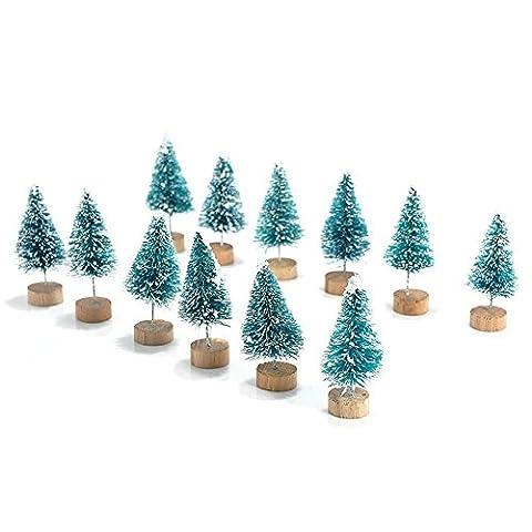 Yalulu 15pcs Mini Künstlicher Weihnachtsbaum Kunstbaum Christbaum Tannenbaum mit ständer Weihnachtsdeko Weihnachten Tischdeko Geschenk Decoration (Dunkelgrün)
