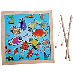 Aivtalk Baby Kids Toddler Child Colourful Wooden Magnetic Fishing & Jigsaw Puzzle Board Set Intellegence Development Early Learning Toys