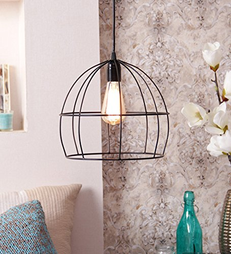 The Brighter Side Lucas Black cage pendant light for home office industrial style decor