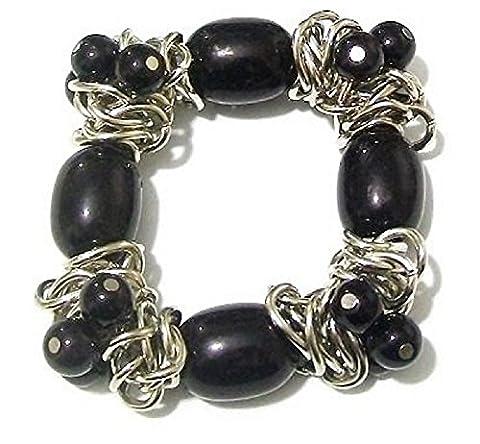 Damen Silber Schwarz Perlen Dehnbares Armband Armreif Party Geschenk Kostüm Schmuck (Bilder Von Moulin Rouge Kostüme)