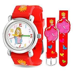 Bling Jewelry Girls Red Princess Cinderella Hearts Watch Stainless Steel Back