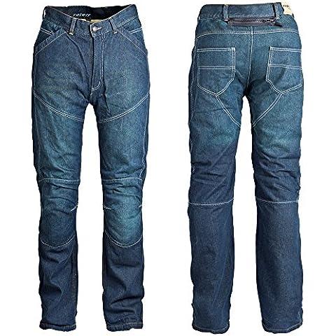 Roleff Racewear Pantalones Vaqueros de Motorista de Aramida, Azul, 34