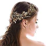 Simsly Mariage Cheveux Vines mariée Bandeaux avec feuilles Accessoires pour brides et Demoiselles d'honneur (Gold) Fs-191