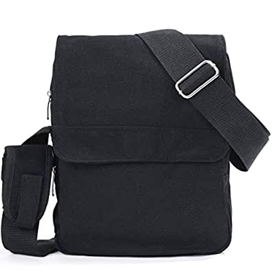 Eshow Men's Small Canvas Briefcase Cross Body Messenger Shoulder Casual Satchel Bags, Black
