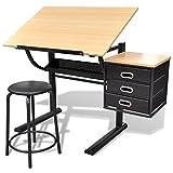 vidaXL Scrivania inclinabile con due cassetti tavolo da disegno con sgabello