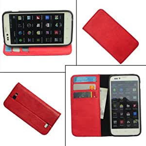 i-KitPit PU Leather Flip Wallet Case For Micromax Bolt A47 (RED)