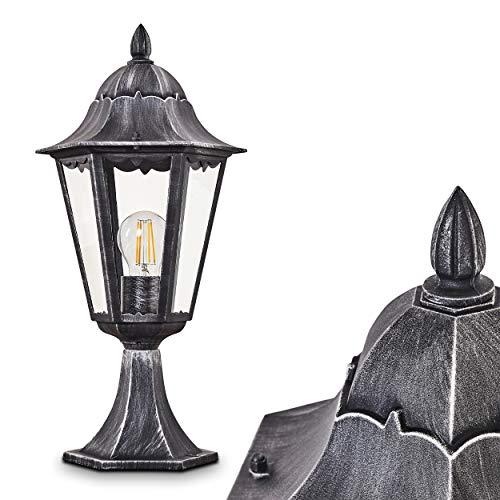 Außenleuchte Lignac, Sockelleuchte in antikem Look, Aluguss in Schwarz/Silber mit Klarglas-Scheiben, Wegeleuchte 74 cm, Retro/Vintage Gartenlampe, E27-Fassung, max. 60 Watt IP44