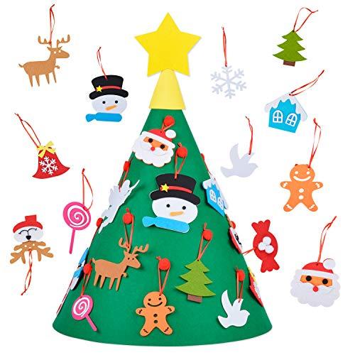 Albero di Natale in Feltro, Kapmore Decorazioni per Addobbi Natalizi Deco di Albero di Natale con Giocattoli Educativi Deco Amovibile in Feltro con 18 Pezzi