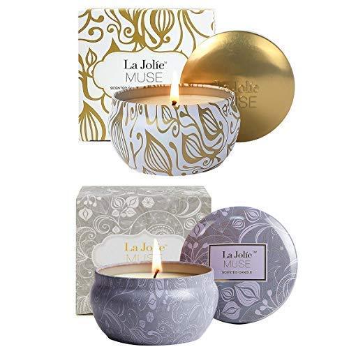 LA Jolie Muse Candele Profumate Regalo di Natale Confezione Regalo da 2 Candele, Loto Blu...