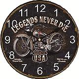 Kuletieas Vintage Horloge Murale Moto Design Horloge Murale Grand Silencieux pour Salon Moment décor Vieux itinéraire Montre Mur cadeau-16inch
