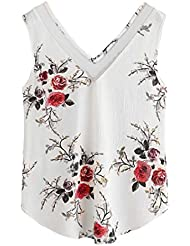 Tefamore Femmes Floral Casual sans manches Culotte Top Veste chemise Tank Blouse Cami Top